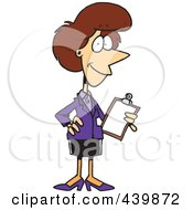 Royalty Free RF Clip Art Illustration Of A Cartoon Female Executive Holding A Clipboard