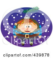 Royalty Free RF Clip Art Illustration Of A Cartoon Black And White Outline Design Of A Christmas Elf Ornament 3
