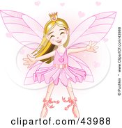 Happy Dancing Caucasian Ballerina Fairy Princess In Pink