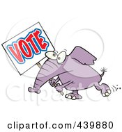 Royalty Free RF Clip Art Illustration Of A Cartoon Elephant Carrying A Vote Sign