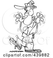 Royalty Free RF Clip Art Illustration Of A Cartoon Black And White Outline Design Of A Man Making A Funny Face
