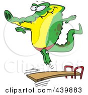 Royalty Free RF Clip Art Illustration Of A Cartoon Gator Bouncing Off A Diving Board