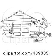 Royalty Free RF Clip Art Illustration Of A Cartoon Black And White Outline Design Of A Man With An Overflowing Garage