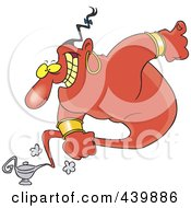 Royalty Free RF Clip Art Illustration Of A Cartoon Male Genie Emerging From A Lamp