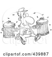 Royalty Free RF Clip Art Illustration Of A Cartoon Black And White Outline Design Of A Happy Garbage Man Carrying Trash Cans by toonaday