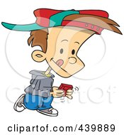 Royalty Free RF Clip Art Illustration Of A Cartoon Boy Walking And Playing A Video Game by toonaday