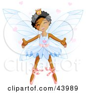 Clipart Illustration Of A Happy Dancing African American Ballerina Fairy Princess In Blue by Pushkin #COLLC43989-0093