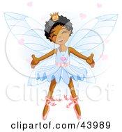 Happy Dancing African American Ballerina Fairy Princess In Blue