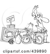 Royalty Free RF Clip Art Illustration Of A Cartoon Black And White Outline Design Of A Man Selling His Stuff At A Yard Sale
