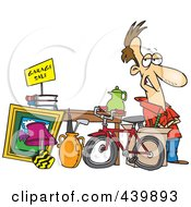 Royalty Free RF Clip Art Illustration Of A Cartoon Man Selling His Stuff At A Yard Sale by toonaday