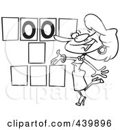 Royalty Free RF Clip Art Illustration Of A Cartoon Black And White Outline Design Of A Game Show Hostess Presenting Blank Spaces