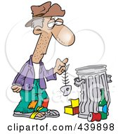 Cartoon Hungry Homeless Man Holding A Fish Bone By A Trash Can