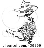 Royalty Free RF Clip Art Illustration Of A Cartoon Black And White Outline Design Of A Gangster Carrying A Violin Case