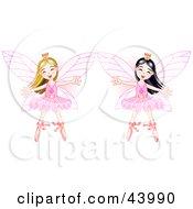 Happy Asian And Caucasian Ballerina Fairy Princesses Dancing