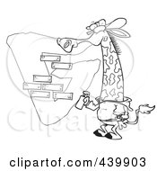 Royalty Free RF Clip Art Illustration Of A Cartoon Black And White Outline Design Of A Giraffe Spray Painting A G On A Wall