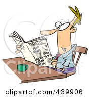 Royalty Free RF Clip Art Illustration Of A Cartoon Businessman Reading The Gazette
