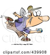 Royalty Free RF Clip Art Illustration Of A Cartoon Man Geocaching With A GPS Device
