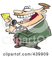 Royalty Free RF Clip Art Illustration Of A Cartoon Game Show Host Reading A Card
