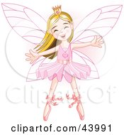 Clipart Illustration Of A Happy Caucasian Ballerina Fairy Princess Dancing by Pushkin