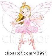 Happy Caucasian Ballerina Fairy Princess Dancing