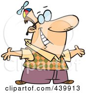 Royalty Free RF Clip Art Illustration Of A Cartoon Geeky Man Holding His Arms Open by toonaday