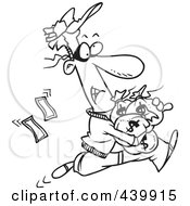 Royalty Free RF Clip Art Illustration Of A Cartoon Black And White Outline Design Of A Robber Getting Away With Bags Of Cash
