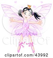 Happy Dancing Asian Ballerina Fairy Princess In Purple