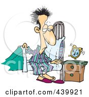 Royalty Free RF Clip Art Illustration Of A Cartoon Man Getting Out Of Bed In The Morning