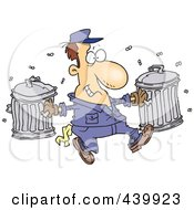 Royalty Free RF Clip Art Illustration Of A Cartoon Happy Garbage Man Carrying Trash Cans by toonaday