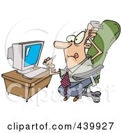 Royalty Free RF Clip Art Illustration Of A Cartoon Stressed Businessman With A Computer Problem by toonaday