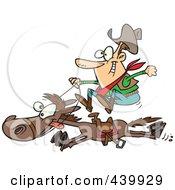 Poster, Art Print Of Cartoon Cowboy On A Galloping Horse