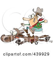 Royalty Free RF Clip Art Illustration Of A Cartoon Cowboy On A Galloping Horse by toonaday