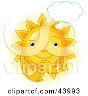 Clipart Illustration Of A Glowing Sun Character In Thought With A Cloud Above Its Head