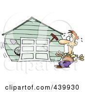 Royalty Free RF Clip Art Illustration Of A Cartoon Man With An Overflowing Garage