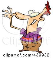 Royalty Free RF Clip Art Illustration Of A Cartoon Man Holding His Hand To His Nose And Waving His Fingers by toonaday