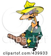 Royalty Free RF Clip Art Illustration Of A Cartoon Gangster Carrying A Violin Case by toonaday