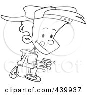 Royalty Free RF Clip Art Illustration Of A Cartoon Black And White Outline Design Of A Boy Walking And Playing A Video Game by toonaday