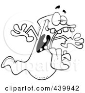 Royalty Free RF Clip Art Illustration Of A Cartoon Black And White Outline Design Of A Spooky Ghost by toonaday