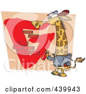 Royalty Free RF Clip Art Illustration Of A Cartoon Giraffe Spray Painting A G On A Wall