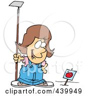 Royalty Free RF Clip Art Illustration Of A Cartoon Girl Standing In A Tomato Garden by toonaday