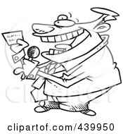 Royalty Free RF Clip Art Illustration Of A Cartoon Black And White Outline Design Of A Game Show Host Reading A Card