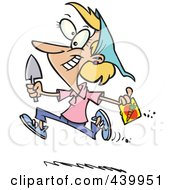 Royalty Free RF Clip Art Illustration Of A Cartoon Woman Running With Carrot Seeds