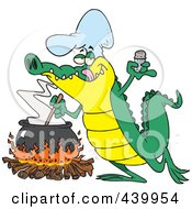 Royalty Free RF Clip Art Illustration Of A Cartoon Gator Making Soup by toonaday #COLLC439954-0008