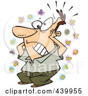 Royalty Free RF Clip Art Illustration Of A Cartoon Germophobe Man by Ron Leishman