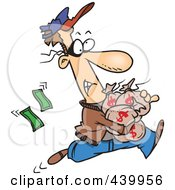 Royalty Free RF Clip Art Illustration Of A Cartoon Robber Getting Away With Bags Of Cash by toonaday