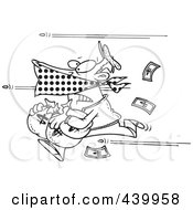 Royalty Free RF Clip Art Illustration Of A Cartoon Black And White Outline Design Of Bullets Shooting At A Robber by toonaday