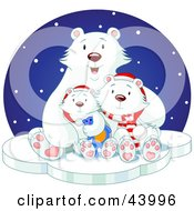 Happy Polar Bear Family Cuddling On Ice On A Snowy Winter Night