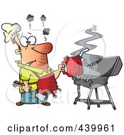 Cartoon Man Using A Gas Can To Ignite His Bbq