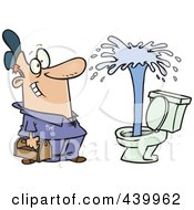 Royalty Free RF Clip Art Illustration Of A Cartoon Plumber Admiring A Geyser In A Toilet