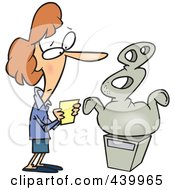 Royalty Free RF Clip Art Illustration Of A Cartoon Woman Looking At An Abstract Statue In A Gallery